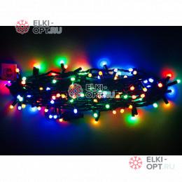 Светодиодная гирлянда цвет мульти 10м постоянного свечения провод черный, IP65