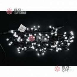 Светодиодная гирлянда цвет белый 10м постоянного свечения провод черный, IP65