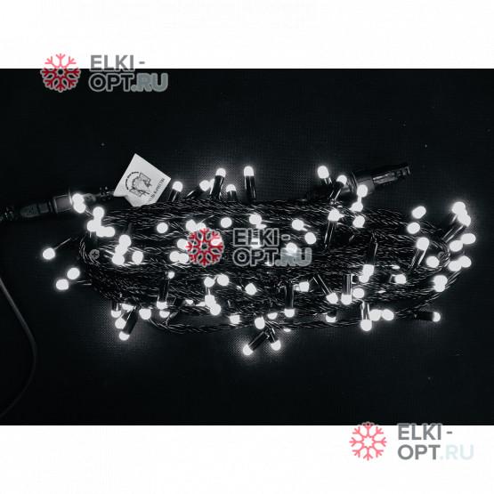 Светодиодная гирлянда цвет белый 10м постоянного свечения (20шт *1275р)  провод черный, IP65