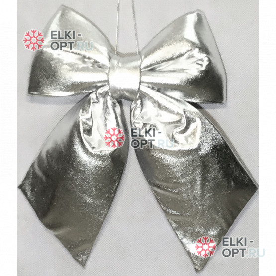 Бант 30см Блестящий цвет серебро