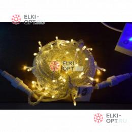 Светодиодная гирлянда цвет теплый белый 10м IP44, провод прозрачный, 220V