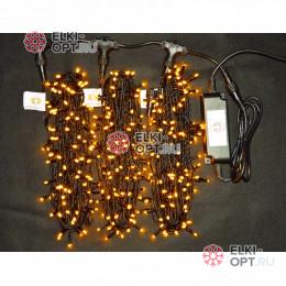 Светодиодная гирлянда Клип Лайт 3 луча по 20м цвет желтый  300LED 24V постоянное свечение