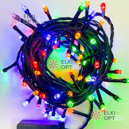 Светодиодная гирлянда цвет мульти 7м черный провод с контроллером 100LED IP22 (60шт *105р)