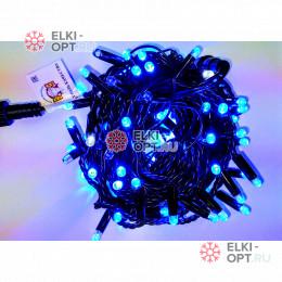 Светодиодная гирлянда 24В цвет синий IP65  длина 10м герметичный колпачок, провод каучук