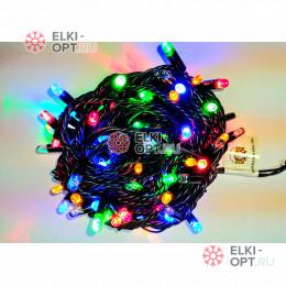 Светодиодная гирлянда 24В цвет мульти IP65  длина 10м герметичный колпачок, провод каучук