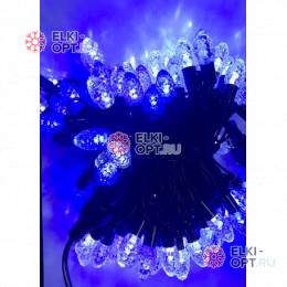 Светодиодная гирлянда Шишки 10м цвет бело-синий провод черный IP54