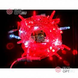 Светодиодная гирлянда 24В с мерцанием цвет красный IP65  длина 10м герметичный колпачок, провод прозрачный