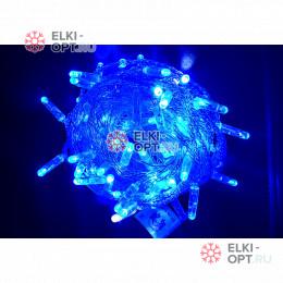 Светодиодная гирлянда 24В с мерцанием цвет синий IP65  длина 10м герметичный колпачок, провод прозрачный