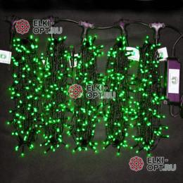 Светодиодная гирлянда Клип Лайт 5 нитей по 20м цвет зеленый постоянное свечение провод черный IP54 24V