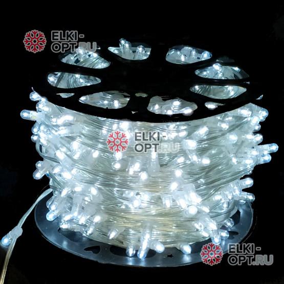 Светодиодная гирлянда Клип Лайт 12V цвет белый 100м шаг 15см 666 LED провод прозрачный IP65
