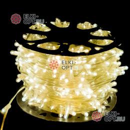 Светодиодная гирлянда Клип Лайт 12V цвет теплый белый 100м шаг 15 см 666 LED провод прозрачный