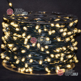 Светодиодная гирлянда Клип Лайт 12V цвет теплый белый 100м шаг 30см 333 LED провод зеленый IP65