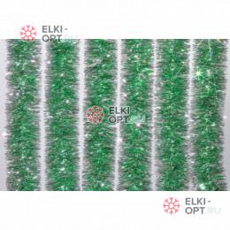 Мишура новогодняя Сибирская d-5см  длина 2м цвет зеленый + серебро (упак. 10шт)