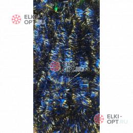 Мишура новогодняя Московская d-5см  длина 2м цвет синий + золото (упак. 10шт)