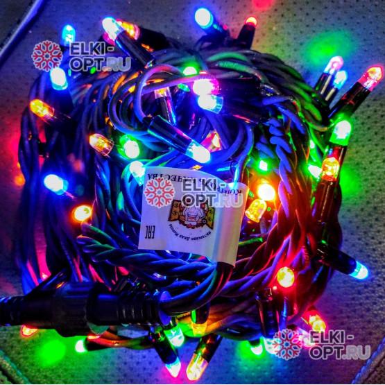 Светодиодная гирлянда цвет мульти 24V 10м герметичный колпачок, провод каучук IP65, постоянное свечение