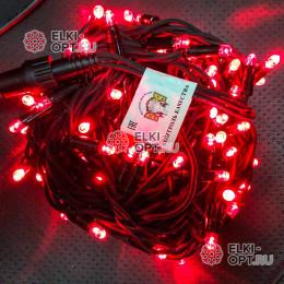 Светодиодная гирлянда 24В цвет красный IP65  длина 10м герметичный колпачок, провод каучук
