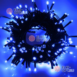 Светодиодная гирлянда цвет синий 24V 10м IP44 постоянное свечение провод черный