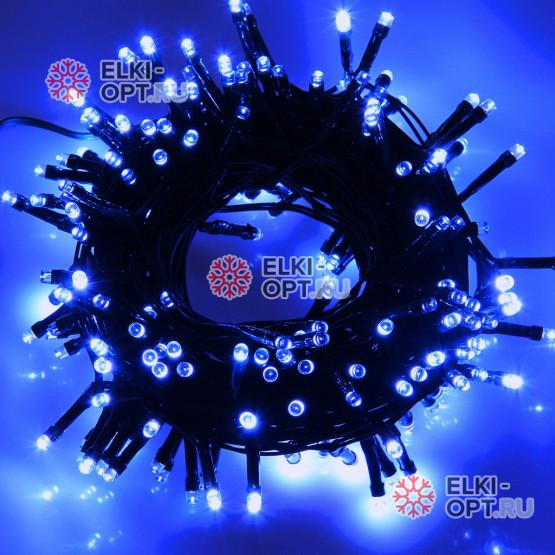 Светодиодная гирлянда цвет синий 10м IP44, провод черный, 220V (20шт*850р)