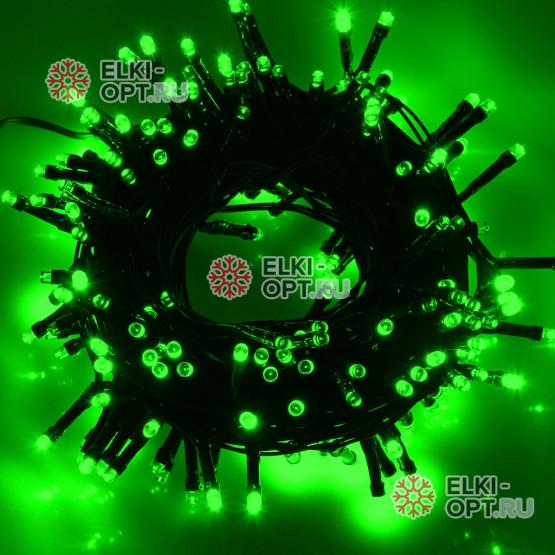 Светодиодная гирлянда цвет зеленый 10м IP44, провод черный, 220V (20шт*1020р)