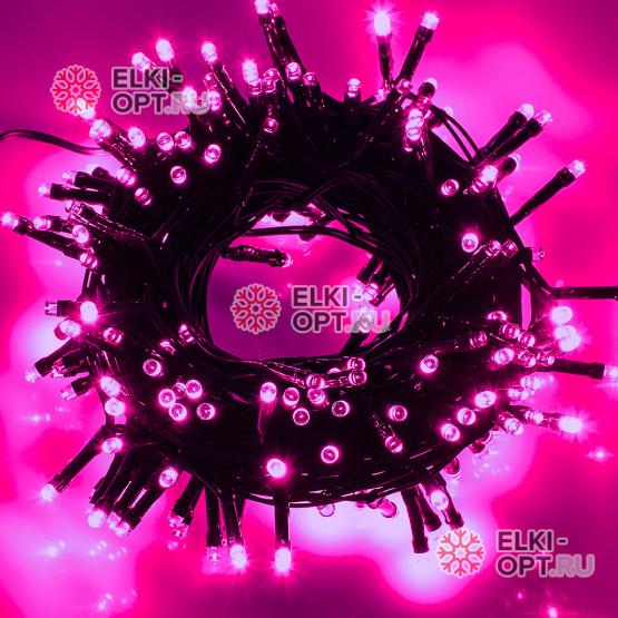Светодиодная гирлянда цвет розовый 10м IP44, провод черный, 220V (20шт*1020р)
