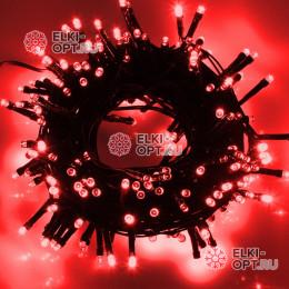 Светодиодная гирлянда цвет красный 10м IP44, провод черный, 220V (20шт*810р)