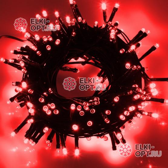 Светодиодная гирлянда цвет красный 10м IP44, провод черный, 220V
