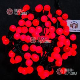 Светодиодная гирлянда Мультишарики d-1,8см цвет красный 10м 100LED, провод черный, IP65
