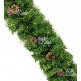 Гирлянда хвойная с шишками d-25 см  длина 2,7м цвет зеленый