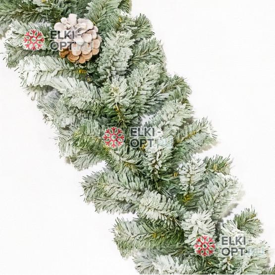 Гирлянда хвойная Московская снежная с шишками d-20см  длина 200 см цвет зеленый