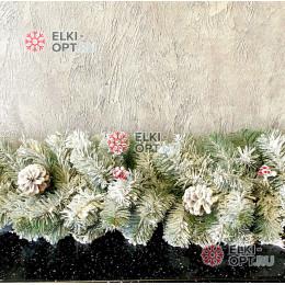 Гирлянда хвойная Камчатская снежная с шишками d-28см  длина 200 см цвет зеленый
