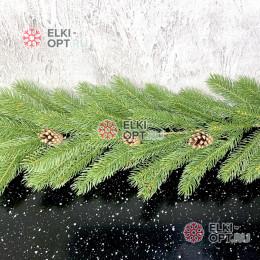 Еловая гирлянда Ладога d-30см длина 200см цвет зеленый с шишками, литая хвоя