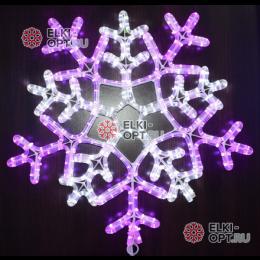 Светодиодная фигура Снежинка 55см цвет бело-сиреневый
