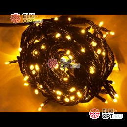 Светодиодная гирлянда 10м цвет желтый, провод черный