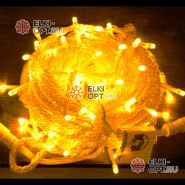 Светодиодная гирлянда цвет желтый 10м IP44, провод прозрачный, 220V