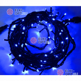 Светодиодная гирлянда 10м цвет синий, провод черный