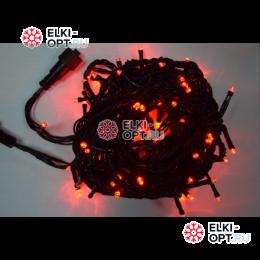 Светодиодная гирлянда 10м цвет красный, провод черный