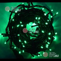 Светодиодная гирлянда 100LED цвет зеленый 10м провод черный