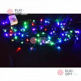 Светодиодная гирлянда цвет RGB 10м IP44 провод черный