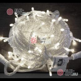 Светодиодная гирлянда 10м цвет белый, провод прозрачный