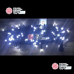 Светодиодная гирлянда мерцающая 10м цвет белый, провод черный IP44