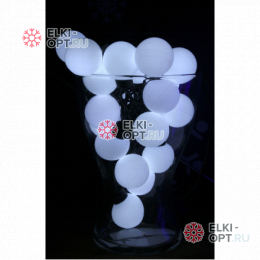 Светодиодная гирлянда Супер шар 5м d-4см цвет белый постоянное свечение IP44