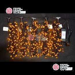 Светодиодная гирлянда Клип Лайт LED 5 нити по 20м цвет желтый 24V 100м постоянное свечение