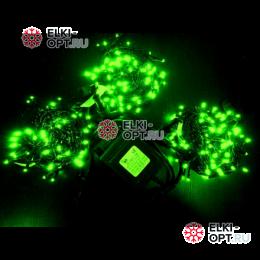 Светодиодная гирлянда Клип Лайт 3 нити по 10м цвет зеленый постоянное свечение провод черный IP54 24V