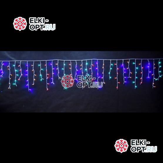 Светодиодная бахрома 3х0,6м цвет мульти, провод прозрачный, IP44, постоянное свечение