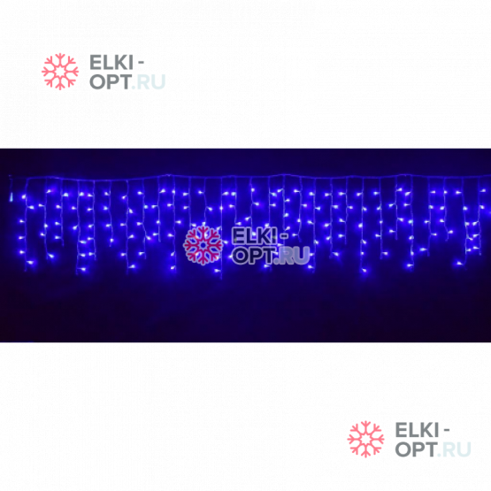 Светодиодная бахрома 3х0,6м цвет синий, провод прозрачный, IP44, постоянное свечение