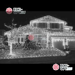 Светодиодная бахрома 3х0,5м цвет белый,провод прозрачный, IP44 ,постоянное свечение