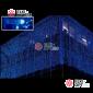 Cветодиодный занавес 2*3м  цвет синий 600LED прозрачный провод IP44 с контроллером