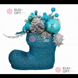 Декоративное украшение Рождественский сапожок цвет голубой