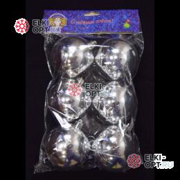 Шары d-8см цвет серебро глянец 32уп х 170руб