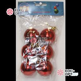 Шары пластиковые d-6см цвет красный глянец (6шт/уп)